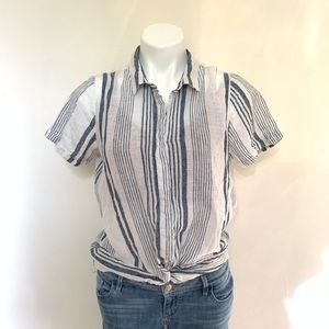 Universal Thread Linen Striped Knot Front Tee